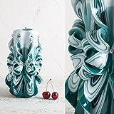 Groß, Weiß und Türkis - dekorativ geschnitzte Kerze - EveCandles