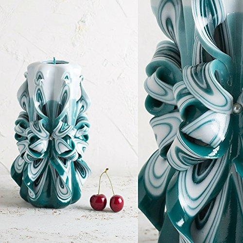 Candela turchese - intagliata a mano decorativa - per relax corpo bagno e spa - evecandles