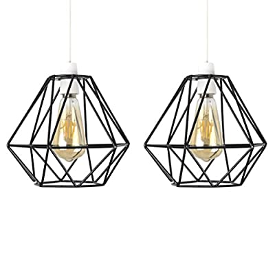 Pair of - Retro Style Black Metal Basket Cage Ceiling Pendant Light Shades by MiniSun