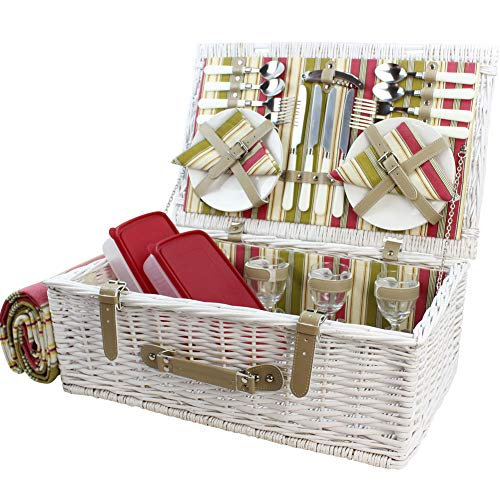 HappyPicknickkorb aus Weidenholz mit Deluxe-Service für 4 Personen, weiß gewaschenes Weiden-Picknickkorb, Picknick-Set mit Fleecedecke und Geschirr (weiß gewaschen)MEHRWEG