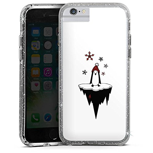 Apple iPhone 8 Bumper Hülle Bumper Case Glitzer Hülle Pinguin Comic Tier Bumper Case Glitzer silber