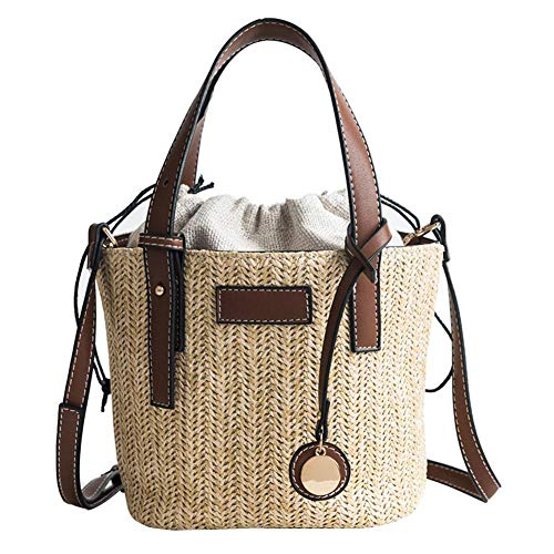 Sling Tote Bag (Chirsemey Hand Woven Straw Bucket Bag Portable Shoulder Bag Women's Summer Beach Handbags Sling Shoulder Clutch Bag Tote with PU Shoulder Strap for Beach Vacation Travel)