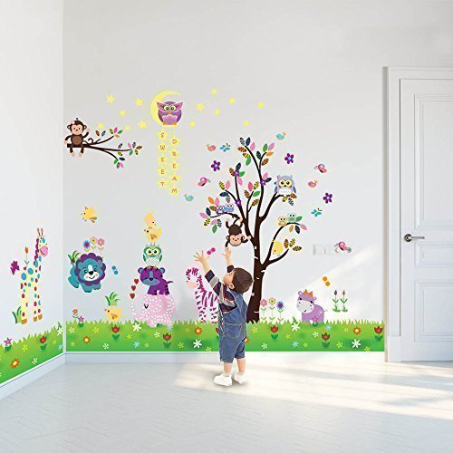 Walplus - 3 set di adesivi da parete per cameretta dei bambini: mod. df5099 (happy animals), mod. ws3026 (owl tree star), mod. ay763 (little chick grass)