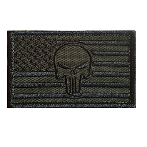 2AFTER1 Olive Drab OD Green Punisher Skull USA American Flag Morale Tactical Army Fastener Patch