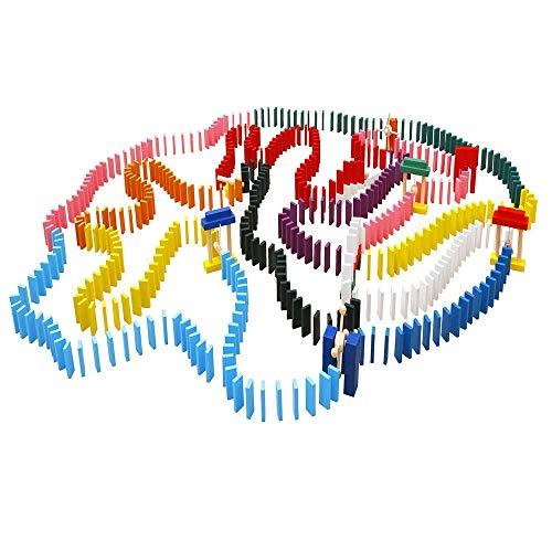 ADATEN 1000 Teile Aus Holz Dominosteine Kettenreaktion Rennen Fliesenspiele Regenbogen Bausteine Stapeln Geometrie Basteln Mit 10 Zusatzblöcken Und Aufbewahrungstasche