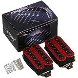 yibuy Paire de micros pour guitare électrique avec aimants en céramique et métal rouge umbrella-head Vis
