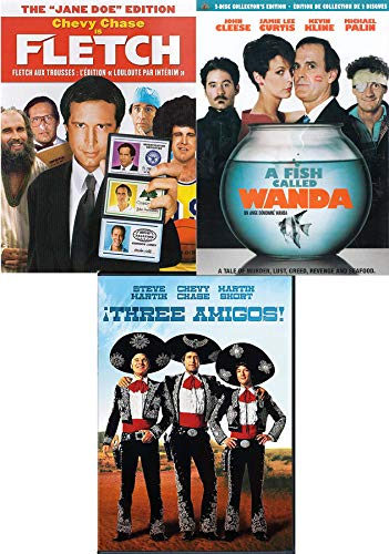 Caper Comedies 2 Disc Fish Called Wanda John Cleese + Chevy Chase Fletch DVD Jane Doe Edition + Three Amigos Steve Martin Movies Triple Feature film Funny Blast Bundle