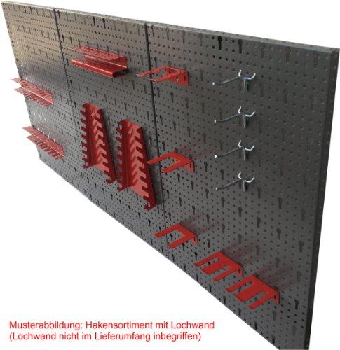 Werkzeughaltersortiment für Euro-Lochwand mit 22 Teilen in Rot - Silber - 2