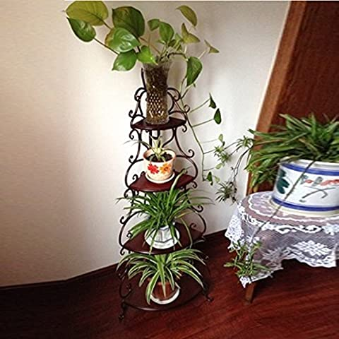 EIK Ferro battuto balcone piano mobile multi-mensola angolo coperta pot antico rack cucina bagno rack