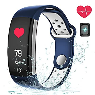 Fitness Tracker, Coredy Heart Rate Monitor Activity Tracker with Swimming IP68 Waterproof/Bluetooth 4.0/Pedometer/Long Battery Life/Sleep Monitor/Alarm Clock/Calorie Counter/Touch Screen/Sedentary Reminder for Android and iOS by Coredy