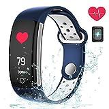 Fitness tracker, Coredy moniteur de fréquence cardiaque tracker d'activité avec Natation IP68étanche/Bluetooth 4.0/podomètre/Durée de vie de la batterie/moniteur de sommeil/réveil/compteur de calories/écran tactile/Sédentaires rappel pour Android et iOS, noir foncé