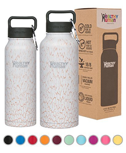 Healthy Human Wasser Flaschen - Kalt 24 Stunden heiss 12 Stunden. Vakuum isoliert Edelstahl doppelwandig Thermoskanne Stein Flasche mit Karabiner & Hydro Guide - Wüste Lilien, 950 ML (8 Unzen Kunststoff-flasche)