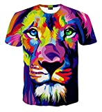 Pizoff Unisex Digital Print T Shirts mit bunt Löwen 3D Muster