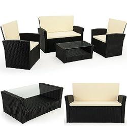 Deuba 10 TLG. Polyrattan Sitzgruppe mit Glastisch - Sitzgarnitur Rattan Lounge mit 7cm dicken Sitzauflagen