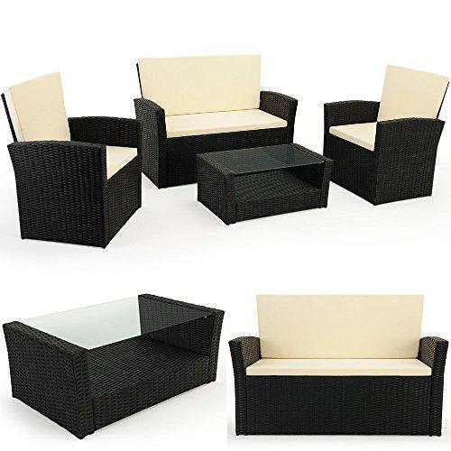 floristikvergleich.de 10 tlg. Polyrattan Sitzgruppe mit Glastisch – Sitzgarnitur Rattan Lounge mit 7cm dicken Sitzauflagen