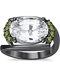 Silvernshine 4Ct Oval & Round Cut Sim Peridot Diamonds 18K Black Gold Plated Engagement Ring