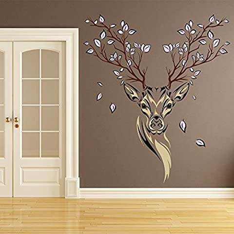 Floral Deer Wall Sticker Animals Stag Wall Decal Living Room available in 8 Sizes XX-Large Digital