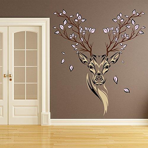 Preisvergleich Produktbild Blumen Hirsch Wandaufkleber Tiere Hirsch Wandtattoo Wohnzimmer Erhältlich in 8 Größen XXX-Groß Digital