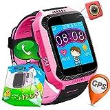 """1.44""""GPS Tracker Smart Watch Téléphone pour Enfants avec Podomètre Caméra SIM Appels Anti-Perdu SOS Smart Smartwatch pour Enfants Filles Garçons Anniversaire Cadeaux (01 Rose)"""