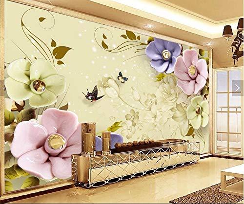 Tapeten Benutzerdefinierte Fototapeten Wandbilder blühen reiches 3D Farbe TV Hintergrund Wand3D Tapete, 250cmX175cm Blühen Tee