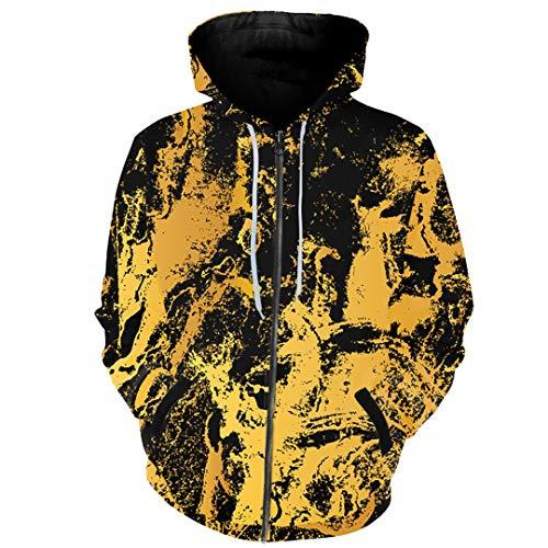 Yoonsthed Graffiti Zipper Hoodies Für Männer Frauen Mit Kapuze Hoodies Splash Paint Print 3D Sweatshirt Tops Plus Szie Outwear Pattern 9 XXL
