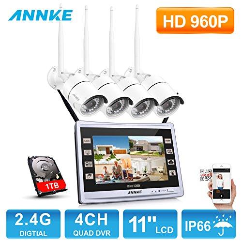 ANNKE Kit Videosorveglianza wifi NVR 1080P 4 Canali 4 IP Telecamera Sorveglianza 960P+ 11' 1080P LCD Monitor Manuale Italiano H.264 P2P IP66 Avviso E-mail Antenna Estensione 1TB HDD