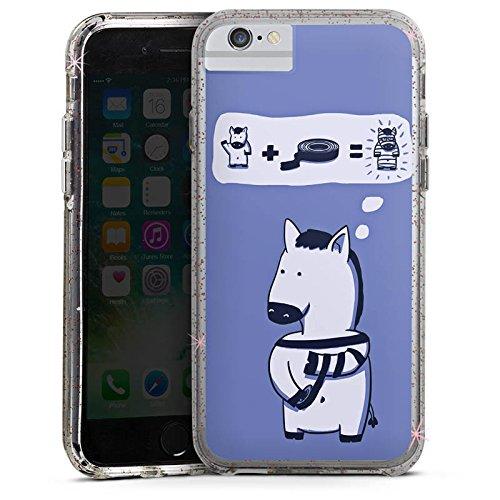 Apple iPhone 8 Bumper Hülle Bumper Case Glitzer Hülle Zebra Funny Lustig Bumper Case Glitzer rose gold