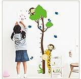 Rainbow Fox XL! Affe Baum Growth Chart, Maßband Messlatte Wandtattoo Wandaufkleber Wandsticker Kinderzimmer Geschenk