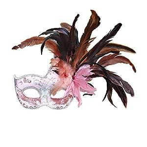 WIDMANN Mascara colombina fiesta rosa con brillo y plumas adulto Cualquier día