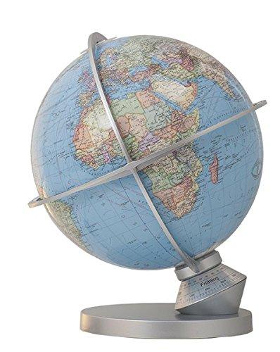 T203052-9 Columbus DUO Planet Erde: DUO Kartenbild, handkaschiert, unbeleuchtet politisch, beleuchtet physisch, Kunststoff silbermetallic, beleuchtet, ... Indexmarke zur Tageseinstellung