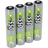 ANSMANN Micro AAA Akku 1,2V 550mAh - NiMH Accu mit maxE Technologie für hohe Langlebigkeit - Kein Memory Effekt Akkus - wiederaufladbare Batterien für Geräte mit hohem Stromverbrauch - 4 Stück