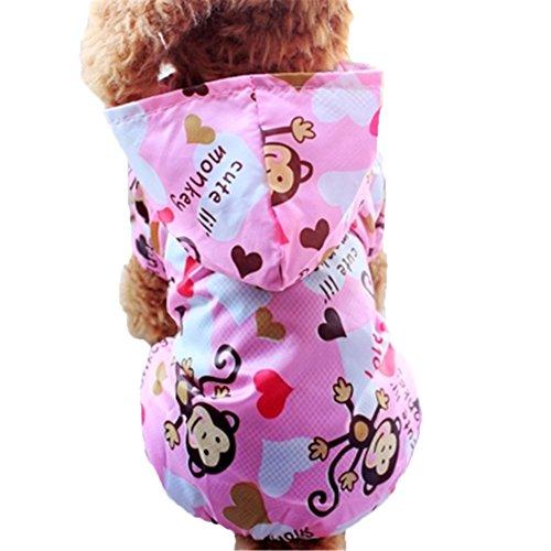 Moolecole Cartoon AFFE Haustier Hundemantel Regenmantel Hunde Vier Beine Bekleidung Wasserdicht Hundejacke Wintermantel Hoodie Regenjacke Rosa S -