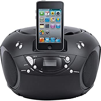 bush portable cd player boombox for ipod iphone dock docking station cbb3i black