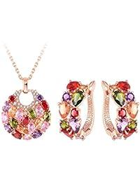 Jewels Galaxy Copper Jewellery Set for Women (Multi-Colour)(SMNJG-CB-MIX-4007)