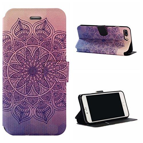 iPhone 7 Plus Coque, Voguecase Étui en cuir synthétique chic avec fonction support pratique pour Apple iPhone 7 Plus 5.5 (bloc de couleur 05)de Gratuit stylet l'écran aléatoire universelle tapis pourpre 01