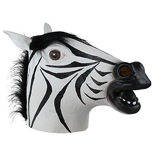 Queenshiny® Latex Tiermaske Halloween-Party-Kostüm (Zebra) (Zebra Katze Kostüm)