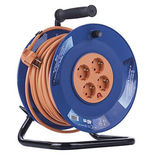 EMOS Profi-Kabeltrommel, 40m Kabel mit 4 Steckdosen, 1,5 mm Schuko, Spezialkunststoff, Einsatz im Innenbereich (Für Zuhause/Werkstatt/Wohnwagen)