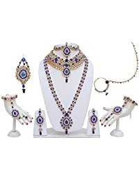 Lucky Jewellery Traditional Blue Color Alloy Bridal Set For Women And Girls