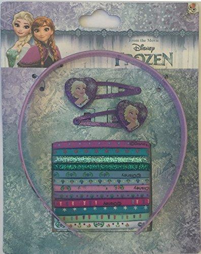 Disney Frozen, Eiskönigin Haarschmuck Set - 1 Haarreifen + 2 Haarklammern, Haarklammern + 12 Haargummis, Zöpfchenhalter