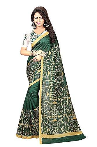 Shreeji Ethnic Women's bhagalpuri Silk Printed Saree With Blouse piece Saree