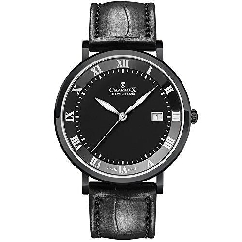 Charmex Men's Copenhagen 40.5mm Leather Band Steel Case Quartz Watch 2815
