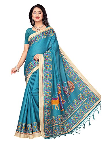 Mrinalika Fashion Women's Khadi Silk Saree With Blouse (SRJKH032_Blue_Free Size)