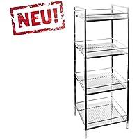 Modernes Badregal Küchenregal Badezimmer Standregal Mit 4 Ablagen   Regal  Und Fächer Aus Metall   CHROM