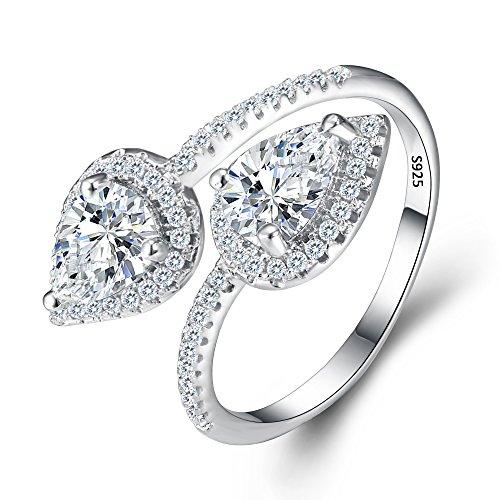 EVER FAITH Dame 925 Sterling Silber Zirkonia Braut Engagement doppel Tropfen Ring Cuff klar