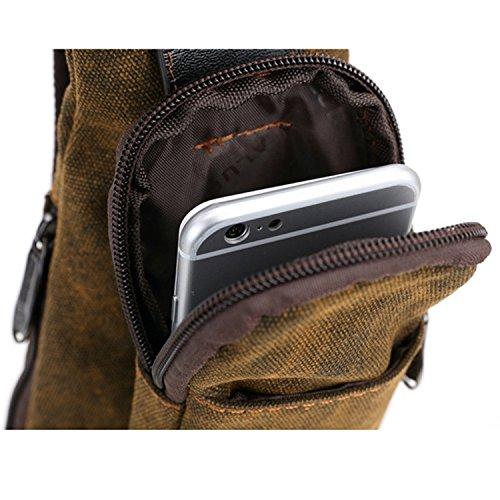 Outreo Sporttasche Umhängetasche Herren Brusttasche Vintage Reisetasche Schultertasche Herrentaschen Taschen Canvas für Sport Messenger Tasche Retro Pack Braun