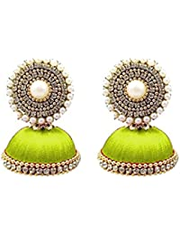 5ea00b62f thread trends Parrot Green Silk Thread Earring Jhumka for Women