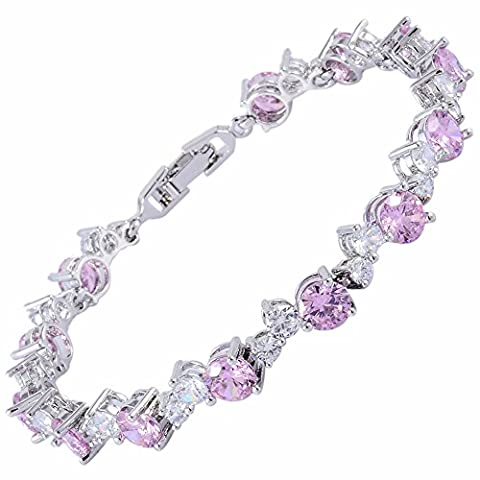 Rizilia Jewellery Round Shaped 3 Stone Pink Sapphire Color Birthstone Gemstone Fine 18K White gold Plated [190mm/7.5inch] Tennis Bracelet Modern Elegance [Free Jewelry