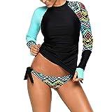 Femmes Fille Maillot de Bain Rashguard Manches Longues, Morbuy Tankini Protection Solaire Anti-UV T-Shirt Top de Sport pour Vacances Surf Plage Natation