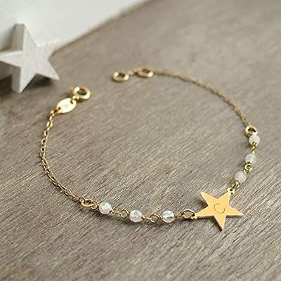 Bracelet Personnalisé Petite Étoile en Or avec des Pierres de Lune, bracelet étoile, cadeau d'anniversaire de mariage, bracelet initiale, bijoux célestes, cadeau d'anniversaire