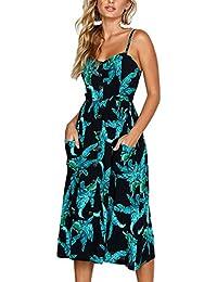 2474f3a18fa484 Angashion Damen V Ausschnitt Spaghetti Buegel Blumen Sommerkleid Elegant  Vintage Cocktailkleid Kleider